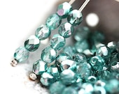 4mm Silver Teal czech glass beads, Fire polished spacers, round beads - 50Pc - 1829