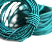 1.5mm Round Natural Leather cord - Dark Teal Vintage - 10 feet, LC118