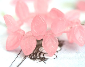 25pc Opal Pink leaves, Czech glass leaf beads, pink leaf beads, pressed bead, 12x7mm - 2167