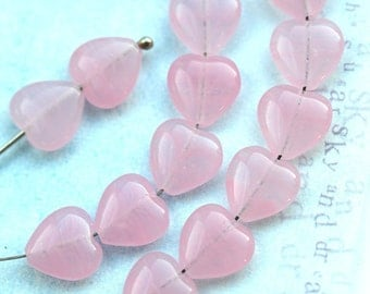 10mm Opal Pink Hearts, Czech Glass pink beads, milky pink heart beads - 30pc - 0482