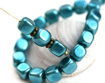 Teal Blue Cube beads, Faux Pearl coating, czech pressed glass beads - 7x6mm - 20Pc - 2092