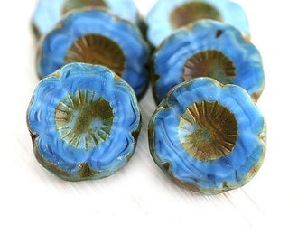 Blue Pansy beads, Azure Blue Flower beads, czech Picasso glass daisy, table cut, chunky flower, 14mm - 6Pc - 1766