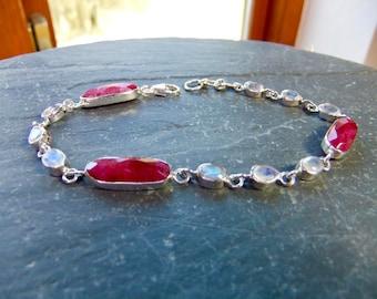 Ruby & Moonstone Gemstone Sterling Silver Bracelet