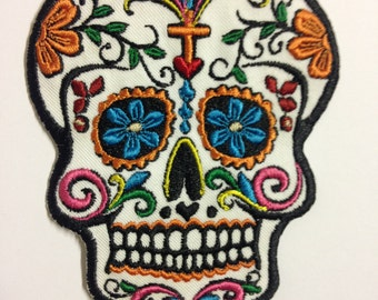 Embroidered SUGAR SKULL Applique Patch IRON On Patch Mexican Skull