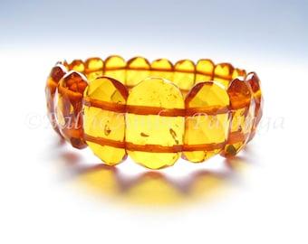Baltic Amber Cognac Color Faceted Bracelet