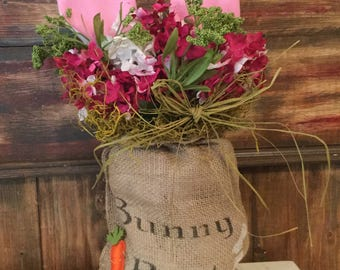 Bunny Bait Burlap Bag with Bunny Ears.  Carrots. Housewarming. Country. Handmade.Cottage Chic.Spring. Shelf Setter. Burlap Floral