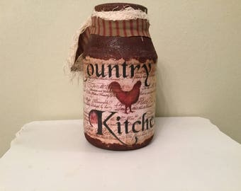 Prim Faux Rusted Jar. Upcycled Half Gallon .Housewarming Gift. Prim Kitchen. Country Home. Farm Kitchen. Rustic. Handmade Prim Decor. Cabin