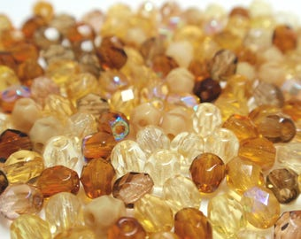 Czech Fire Polish Faceted Round Brown Mix Beads, 4mm Faceted Round Glass Czech Beads - 100 Beads