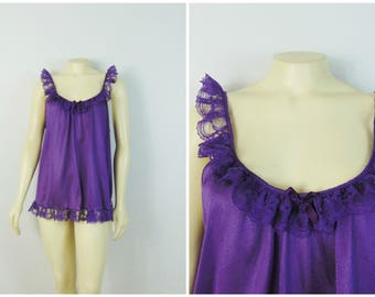 Vintage Nightgown 70s 80s Purple Babydoll Nightie Lace Trim Size Large Made in USA