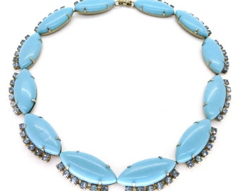Vintage 1950s Lucite & Rhinestone Blue Collar Necklace