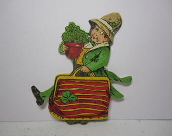 1910's-20's unused Dennison's St. Patrick Cut Outs great looking graphics of leprechaun carrying pot of green clovers ,suitcase with clover
