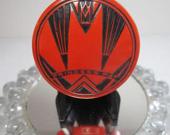 Vintage unused NOS extreme art deco bright orange and black enameled double compact with rouge and face powder with original hang tag