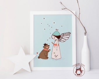 Moment Magique - Poster - Angel Girl and Bear - Nursery Decor - baby decor - blue pink whimsical magical baby girl illustration