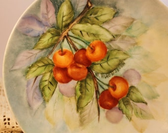 a beautiful vintage handpainted shabby chic plate,cherry plate, vintage china, plate collector,romantic,