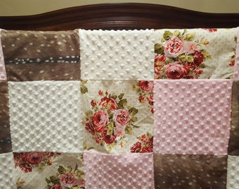 Girl Patchwork Blanket- Deer Skin Minky, Rose Garden, Ivory Minky, and Blush Minky Patchwork Blanket