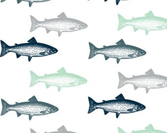 Fish Crib Sheet - Trout - Gray, Navy, Mint