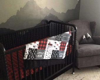 Baby Boy Crib Bedding - Little Man Moose, Gray Arrows, Red Black Buffalo Check, Black, and Gray Crib Bedding Ensemble