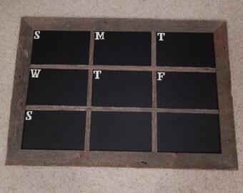 Barnwood Framed Chalkboard with Weekly Calendar Organizer