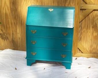 Antique Drop Front Desk Turquoise