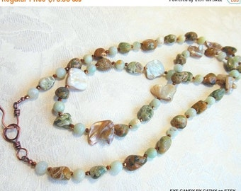 Holiday Sale Long necklace, green and brown, amazonite, rhyolite, copper crystals, mother of pearl and copper clasp