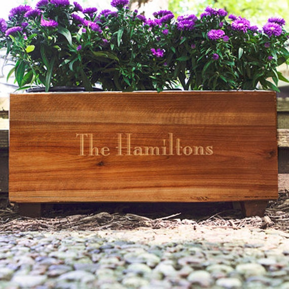 Personalized wooden wine trough or garden box for Wooden wine box garden