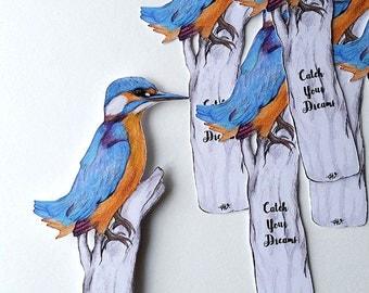 Kingfisher Bookmark, Paper Cut Notelet, Handmade Bookmark, Bird Bookmark, Kingfisher Quote