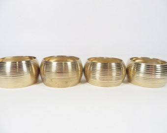 Vintage Brass Napkin Rings - Set of 4 Brass Napkin Rings