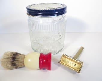 Vintage Burma Shave Shaving Cream Jar Valet Autostrop Razor Shaving Brush