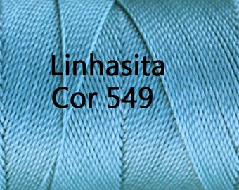 Linhasita Light Blue Cor 549, Waxed Polyester Macrame Cord / String / Hilo/ Spool