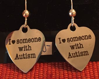 I Love Someone with Autism Earrings