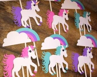 Unicorn Rainbow Birthday themed Pink Unicorn Magical birthday  Cupcake/ Treat Toppers Set of 12 Pink, teal, purple