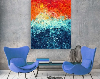 The Wave Canvas Print - Colourful  Orange & Teal Wall Art Print on Canvas Based on Original Abstract Impasto Painting by Louise Mead