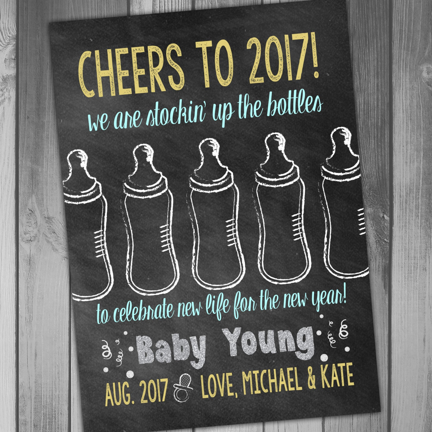 New Years Pregnancy Announcement Baby Announcement We are – New Years Birth Announcement