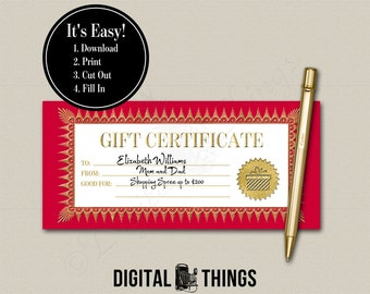 Faux Gold Foil Printable Gift Certificate Coupon Holiday Christmas Last Minute Stocking Stuffer Gift PDF Digital Instant Download DT1921