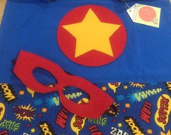 Blue Star Super Hero Cape & Mask Set