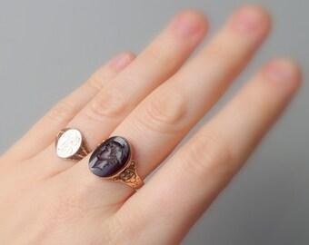 Antique Victorian Signet Ring. Greek Key. LM