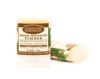 SUMMER SALE - Fresh Mountain Timber Travel Size Deodorant - All Natural & Aluminum Free Deodorant - Masculine - Mountain Air, Wood, Pine