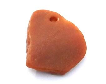 58mm Natural Red Aventurine Stone, Burnt Orange Free Form Pendant, Extra Large, Dark Orange, Large Hole, Bowed Rough Back, Craft Beading