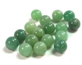 24 Beads Round Green Aventurine Stone Beads, 8mm Round, Craft Bead, Jewelry Making, Muted Greens, Light Green, Medium Green,  Natural Stone