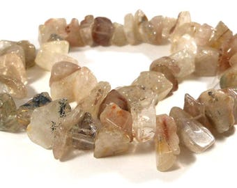 Natural Lodolite Quartz Stone Chip Beads and Nuggets, Full Strand, Large Chunky Beads, Tan Browns, Beige Whites, Crafting Stones, Beading