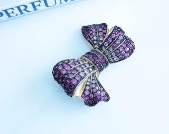Signed Joan Rivers Purple Bow Rhinestone brooch/pin #751