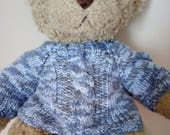 Teddy Bear Sweater  Hand knitted  Blue Aran Cable design  fits Build a Bear