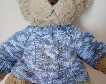 Teddy Bear Sweater - Hand knitted - Blue Aran Cable design - fits Build a Bear
