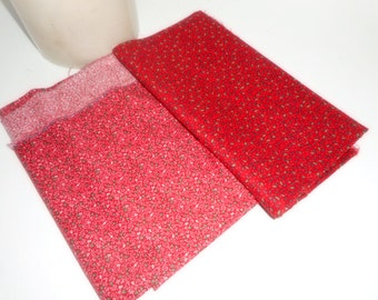 Christmas Fabric, 2 Pieces Fabric, Red and Green Fabric, Holiday Fabric