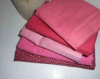 Pink Fabric, Assorted Pink Fabric, Quilting Fabric, Burgandy Fabric, Sewing Material