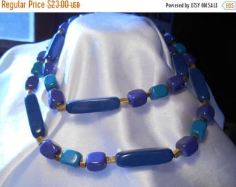 50% OFF SALE Trifari Blue Beaded Retro Necklace with Gold Accents