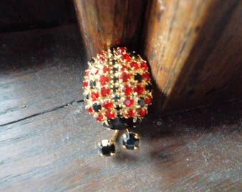 Gold Dorthy Bauer Rhinestone Ladybug pin