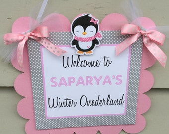Blushing Peguin Winter Onederland Winter Wonderland Birthday Door Sign Welcome Sign Pink and Grey