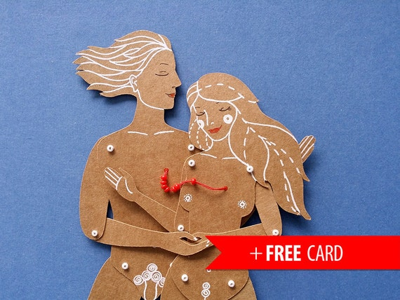 The Lovers couple articulated paper dolls handmade greeting card valentines gift girlfriend boyfriend gift love couple portrait red thread