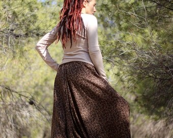 Women's Harem pants, Brown Printed Yoga pants, Regular, Tall, Plus size, Custom Made